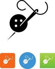 Needle Thread And Button Icon - Illustration