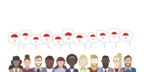 Leute mit Sprechblasen - Regenschirm