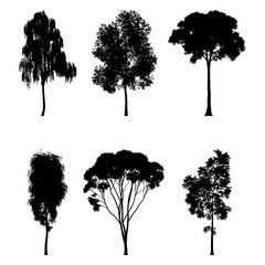 Vector illustration of tree silhouettes for architectural compositions with backgrounds