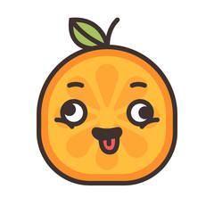 Crazy orange emoji. Crazy orange fruit emoji. Vector flat design emoticon icon isolated on white background.