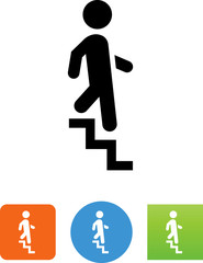 Person Descending Down Stairs Icon - Illustration