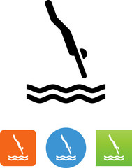 Person Diving Icon - Illustration