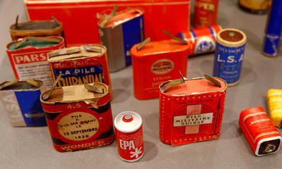 Old batterries are displayed at EBM Elektrizitaetsmuseum museum in Muenchenstein