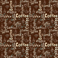 Brown and turquoise coffee pattern