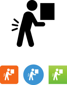 Person Lifting Heavy Object Icon - Illustration