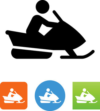Person Riding A Snowmobile Icon - Illustration
