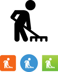 Person Using A Rake Icon - Illustration