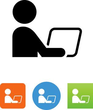 Person Using Computer Icon - Illustration