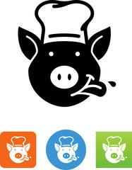 Pig Chef Icon - Illustration
