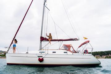 Women on yacht in sea