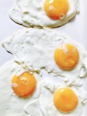 Fresh organic fried eggs, sunny side up