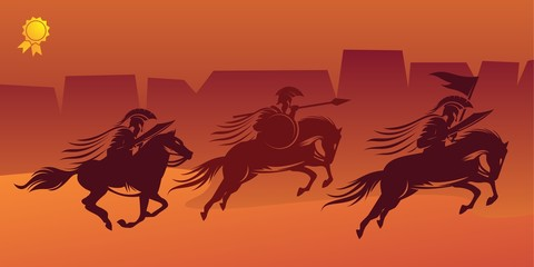 Spartan and horse Illustration Logo Vector silhouette