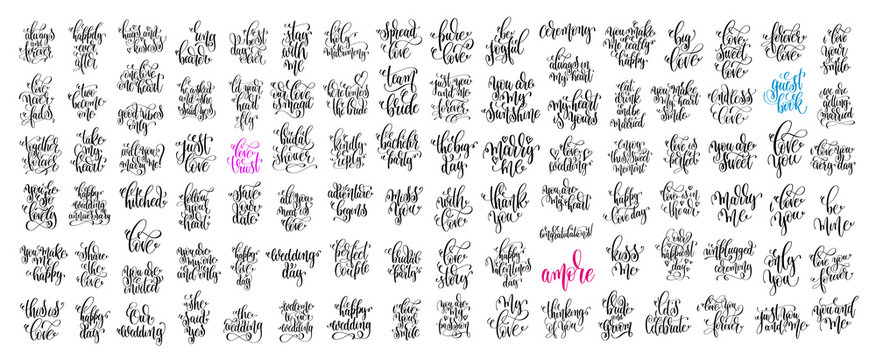 set of 100 hand lettering wedding invitation and romantic valent