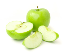 Green apple on white background, fruit healthy concept