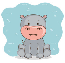 cute adorable hippo animal cartoon