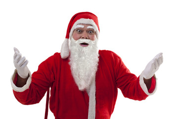 Portrait of surprised Santa Claus gesturing over white background