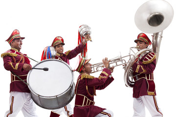 Bandwalas playing on their instruments