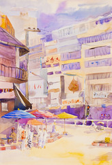 Painting colorful of market and emotion