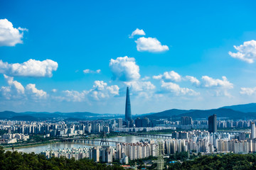Fotobehang Seoel South Korea. Seoul City and skyline with skyscrapers.