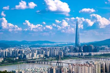 South Korea. Seoul City and skyline with skyscrapers.