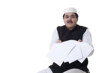 Politician showing blank papers