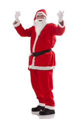 Full length of Santa Claus gesturing over white background