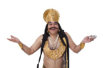 Portrait of a man dressed as Raavan