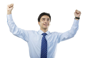 Businessman feeling triumphant