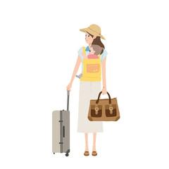 旅行する 親子のイラスト