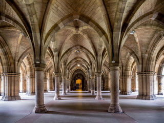 Cloisters connecting the quadrangles at the main University of Glasgow building. The university is the oldest in Scotland and one of the oldest in the United Kingdom.