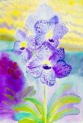 Abstract watercolor original painting purple pink color of orchidaceae flower