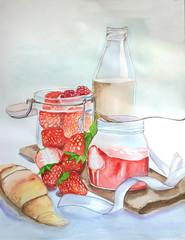 Watercolor illustration of milk with a strawberry and strawberry jam