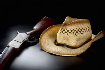 Cowboy Rifle and Hat.