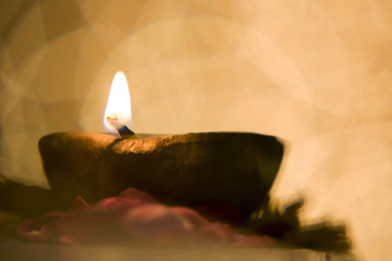 Close-up of a diya