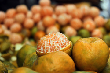 Close-up of fresh oranges for sale