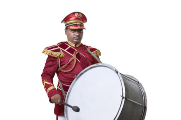 Portrait of a bandmaster with a drum