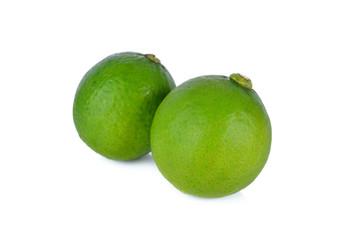 whole fresh lime on white background