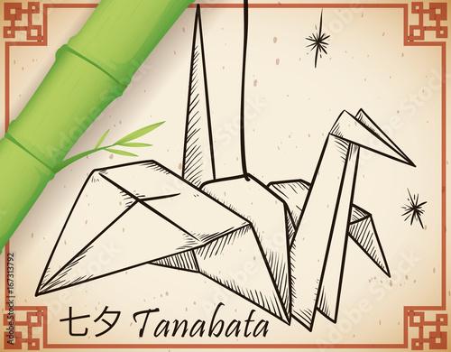 Hand Drawn Line Paper Crane Set Vector Art Illustration Origami