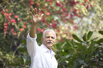 Senior man smiling while waving in park