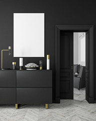 Classic, modern, scandinavian style black color interior mock up with vases, dresser, consoe, door, lamp, frame, wooden floor. 3d render illustration.