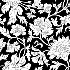 black and white floral vintage pattern
