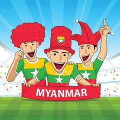 Myanmar Flag soccer support