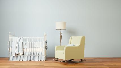 Nursery room with crib and chair
