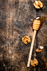 Wall Mural - Fresh honey with nuts.