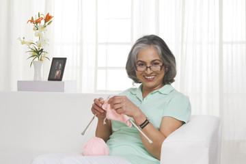 Adult woman knitting