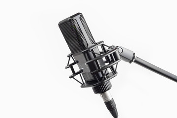 Professional studio microphone on stand, isolated on white background