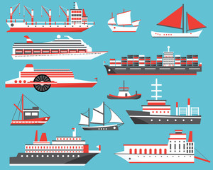 Ships Set. Passenger Cruise Ship, Yacht, Bulk Carrier and Sailboat.