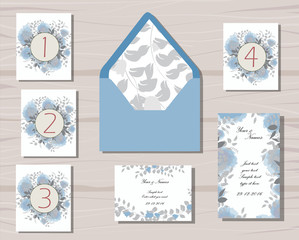 greenery and floral wedding patterns gray and blue