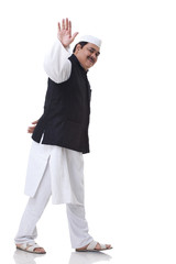 Politician waving over white background