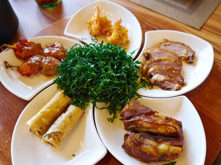 Chinese style meal appetizers